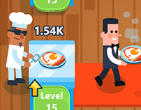 "UI and game art for Idle ""Restaurant"" mobile game"