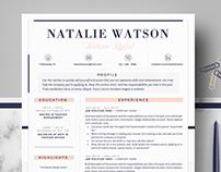 Creative Resume Template | CV template - Natalie