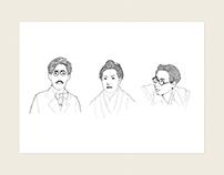 日本經典作家-佐藤春夫/樋口一葉/坂口安吾_插畫