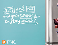 Hand-lettered ads for PNC Bank, USA, summer 2018