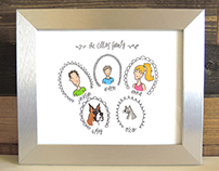 Hand Drawn & Hand Illustrated Family Portraits