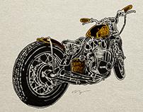 """Rootbeer Bobber"" Motorcycle Illustration"