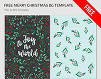 Free Merry Christmas BG Template in PSD + Vector