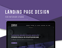 Landing page design for interior studio