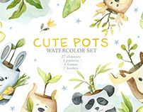 Watercolor Cute Pots Set