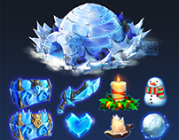 Winter event props for social game
