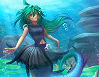 Little mermaid commission OC OmniJerBear and Kayozia.