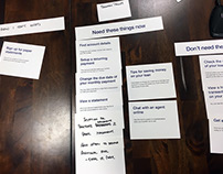 Card sorting for website onboarding