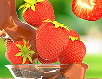 3D Strawberry model render