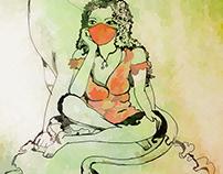 Lionne au repos - zodiacsign illustration