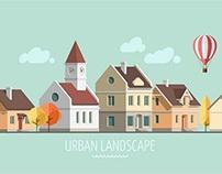 Flat design urban landscape - autumn