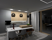 Bright, cozy interior in Kaunas city 3D Visualization.