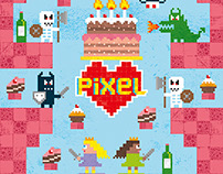 Pixel Love Greeting card #02 Birthday Princess