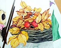 Leaves and cherries of the fall
