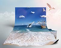 Sea in paper
