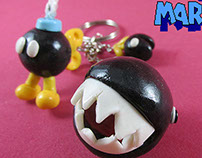 SMB 3 Keychain: Chain Chomp, Bo-omb and Muncher.