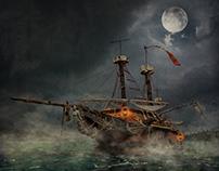 Foto montaje completo - Piratas del Caribe Afiche