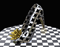 Shoe in black and silver