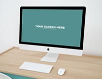 Free iMac Workspace PSD Mockup 2018