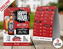 Happy Hour Promotion Tent Card PSD Set