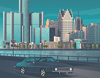 Detroit Michigan Retro Travel Poster City Illustration