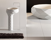 Triangle freestanding washbasin and bathtube design