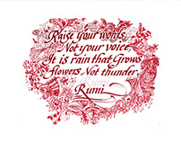 Rain Calligraphy, RUMI.