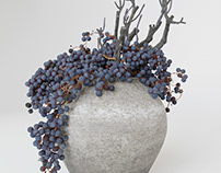 3d model Decor dry grape in ceramic vase