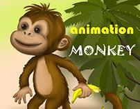 Funny monkey (animation, illustration)