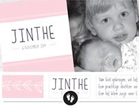 Geboortekaart Jinthe