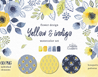 Yellow and indigo watercolor set