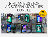 Milan Bus Stop Advertising Screen Mock-Ups Bundle