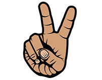 Victory sign with fingers vector art