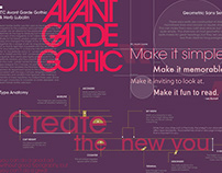 Editorial Design: Avant Garde Type Specimen Brochure