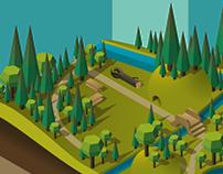 Theme Park Isometric Map