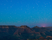 Sunset and stars over Grand Canyon