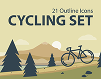 Cycling set / 21 Outline icons