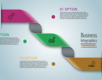Rounded Ribbon Business Infographics Vector