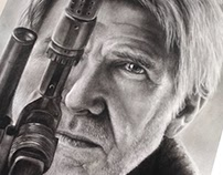 Han Solo Charcoal Portrait Time Lapse
