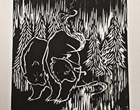 """A Midsummer Night Walk"" - Woodcut Print"