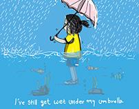 Girl standing under the rain
