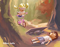 'We Played In The Sun' ebook illustrations.