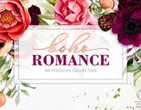 Boho Romance watercolor floral illustrations