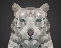 White Tiger Low Poly Art