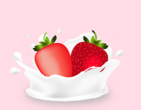 Strawberries In Milk Illistration