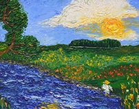 Vectoraized Oil painting of landscape with man in hat