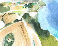 lands and sea watercolor for PAPIER
