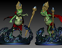 The Frog King Bellowcroak Character Design and Sculpt