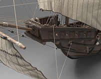 Medieval Ship of Columbus - open sails