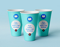 Free coffee paper cup mokup